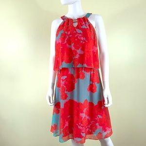 Sangria Halter Neck Floral Spring Flowy Dress